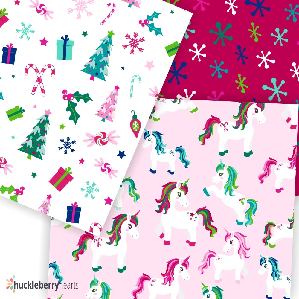 Sample of Digital Christmas Unicorn Scrapbook Paper