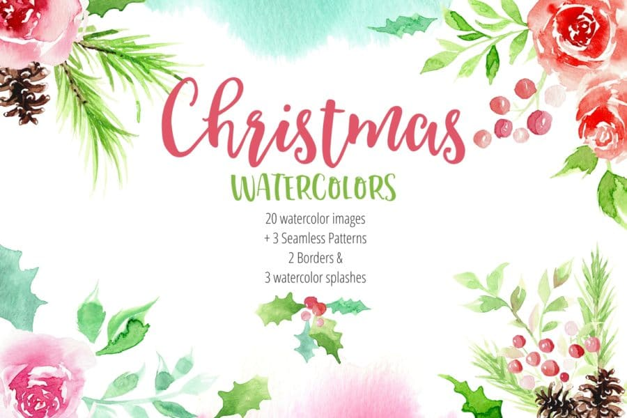Digital Christmas Watercolor Cliparts and Seamless Patterns