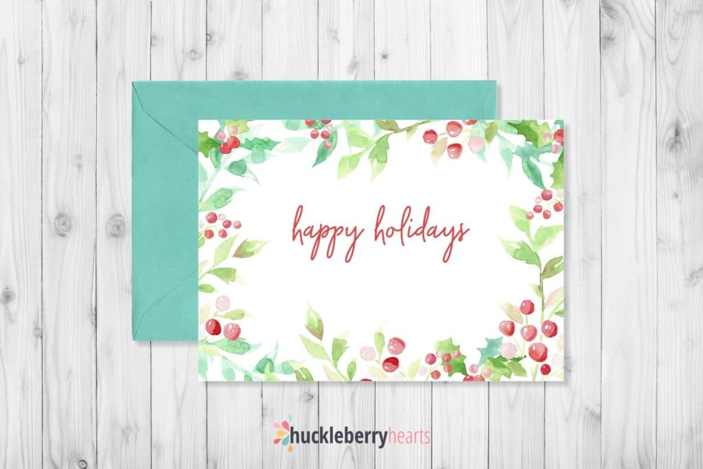 Example of Christmas Watercolor Clipart on Greeting Card