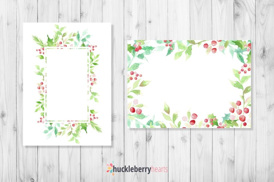 Digital Christmas Watercolor Frames