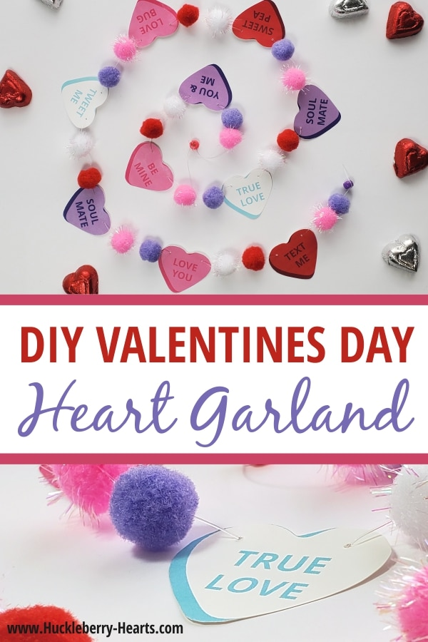 Easy DIY Valentines Day Garland with Pom Poms and Paper Hearts