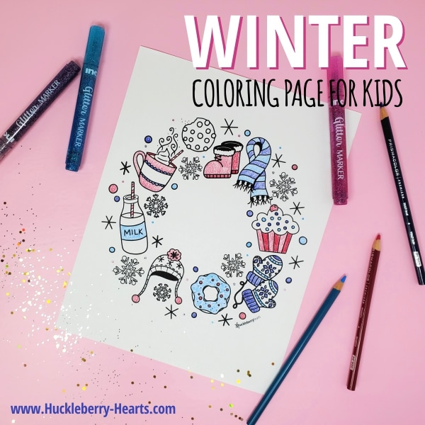 winter coloring page with hot cocoa and winter mittens