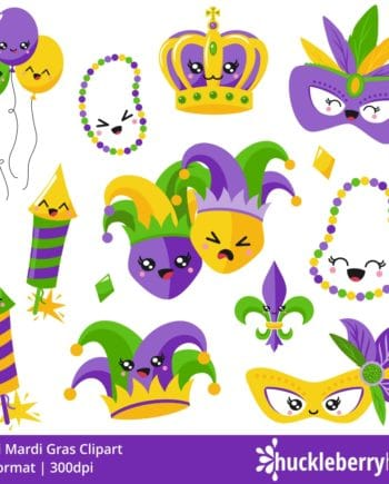 Set of kawaii mardi gras clipart characters