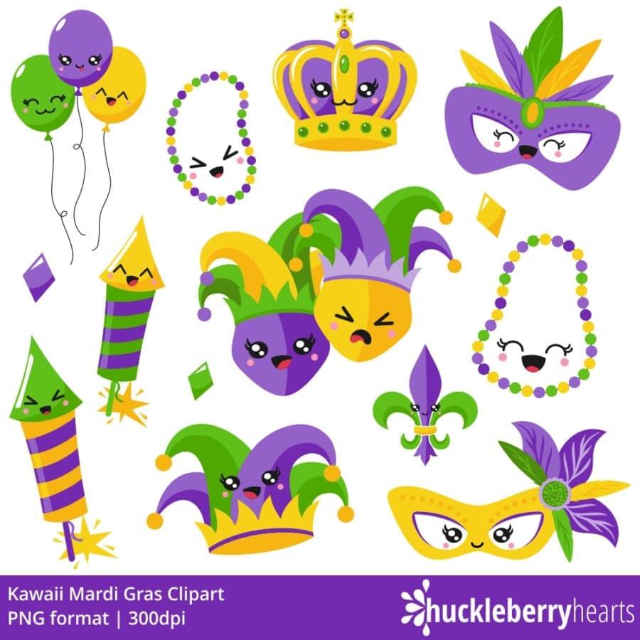 Set of kawaii mardi gras clipart characters