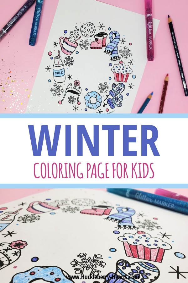 coloring page for kids with markers and colored pencils