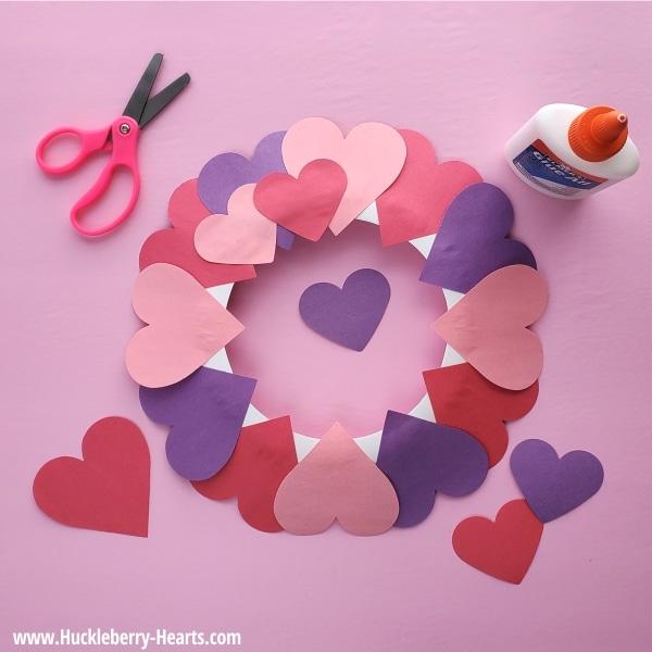 Glue Hearts onto Wreath
