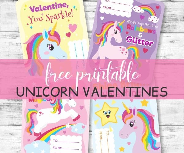 Valentine Card Printables with Unicorns and Rainbows