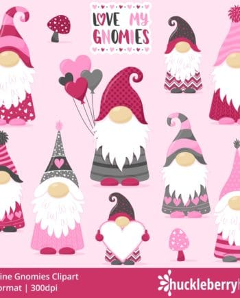 Valentines Day themed gnome clipart set