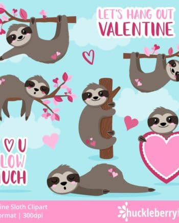 Valentine's Day Sloth Clipart Set