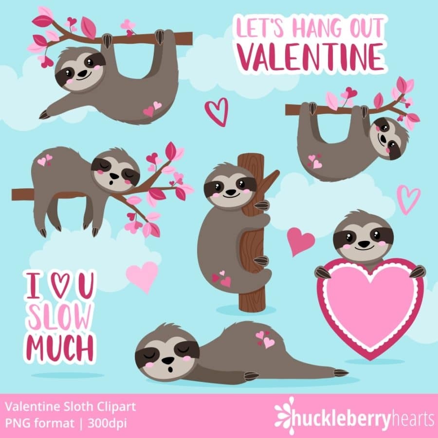 Valentine's Day Sloth Clipart Set
