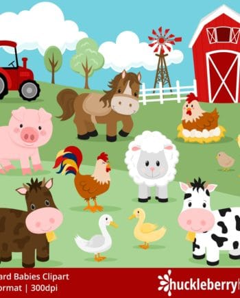 farm animals clipart set