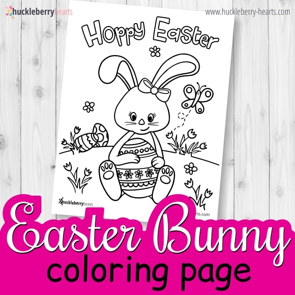 Coloring Page for Kids with Easter Bunny and Easter Egg