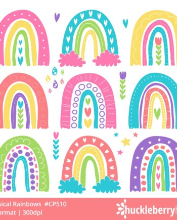 Whimsical Handrawn Rainbow Clipart Set