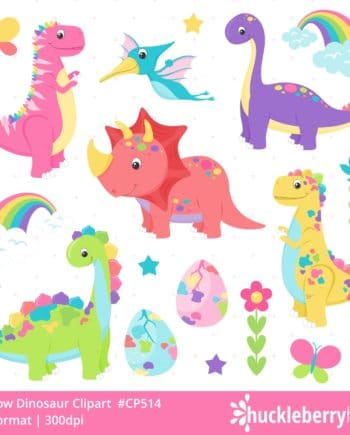 Rainbow Themed Dinosaur Clipart