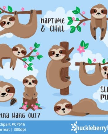 Set of Sloth Clipart