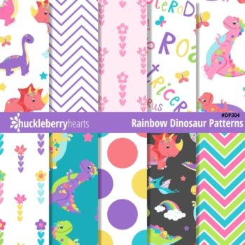 Assorted Rainbow Dinosaur Digital Paper Set