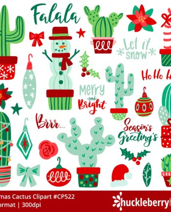 Assorted Christmas themed cactus cliparts