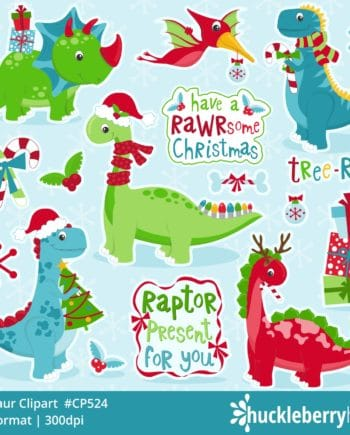 Assorted Holiday Dinosaur Clipart Set