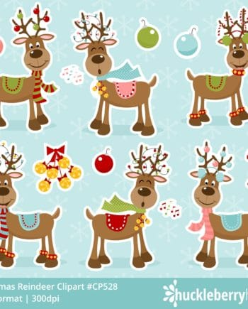 Assorted Whimsical Christmas Reindeer Clipart Set