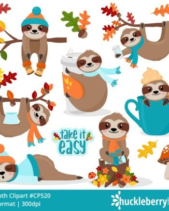 Assorted fall themed sloth cliparts
