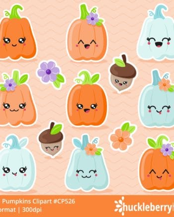 Assorted Kawaii Pumpkin and Acorn Cliparts