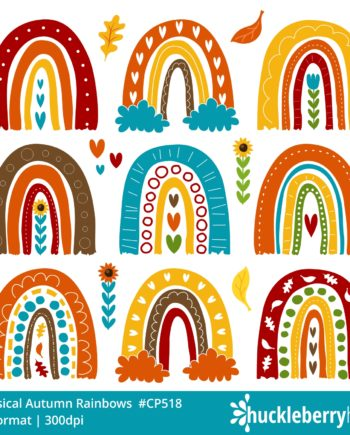 Whimsical Autumn Rainbows Clipart Set