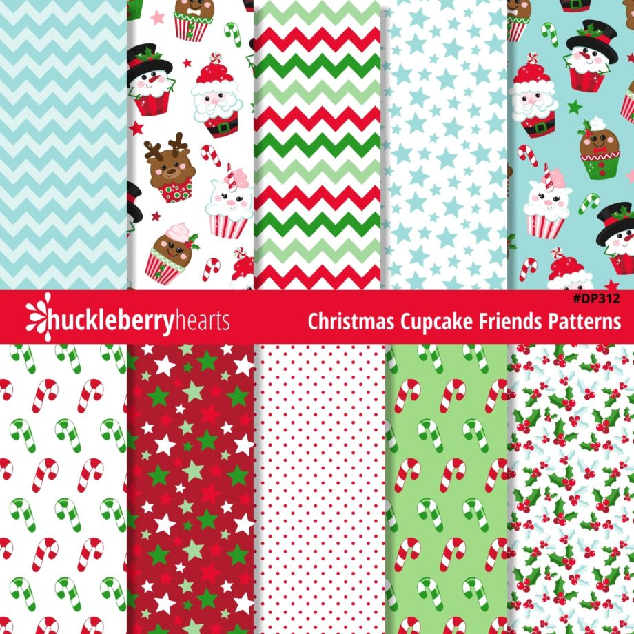 Assorted Christmas Cupcake Digital Patterns