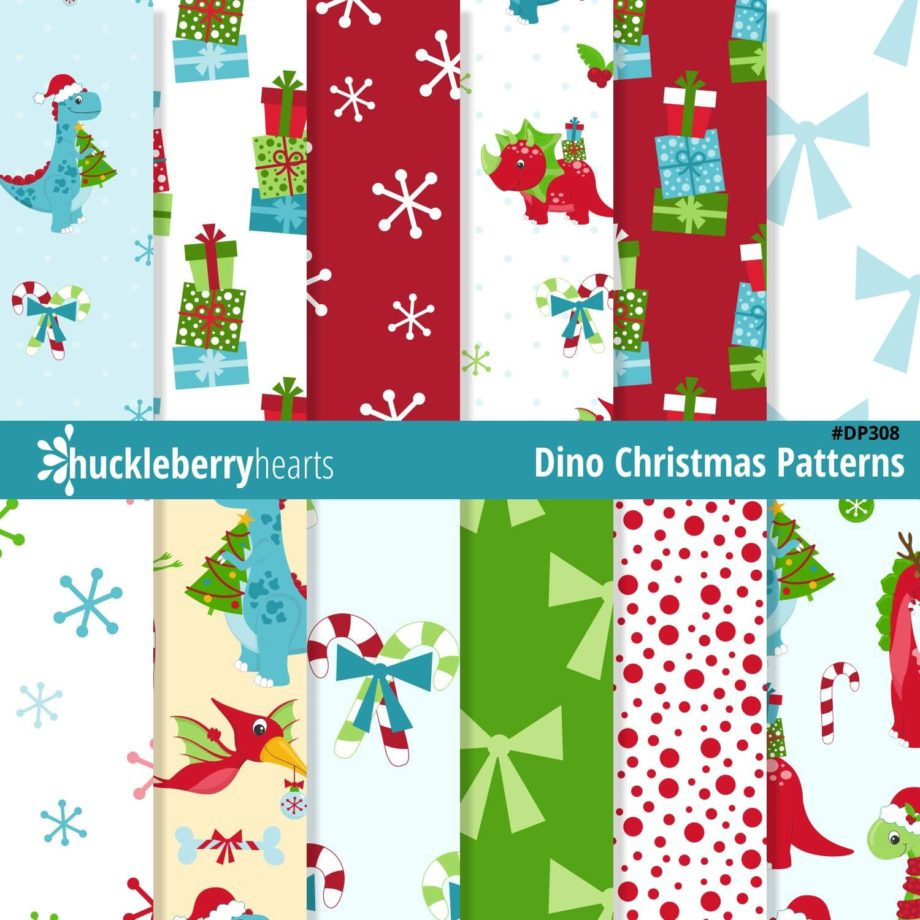 Assorted Christmas Dinosaur Digital Patterns