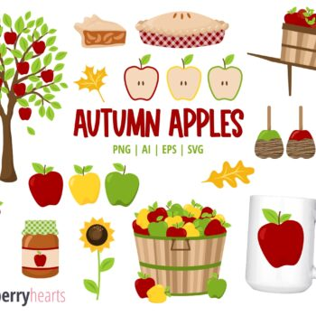 Autumn Apple Clipart Set