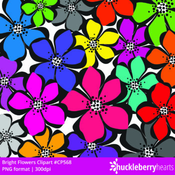 Assorted Bright Flower Clipart Set