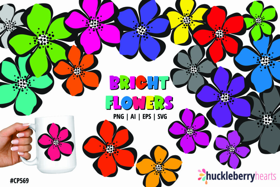 Assorted Bright Rainbow Colored Flower Cliparts