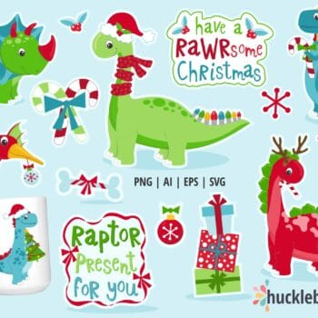 Assorted Holiday Dinosaur Clipart Set
