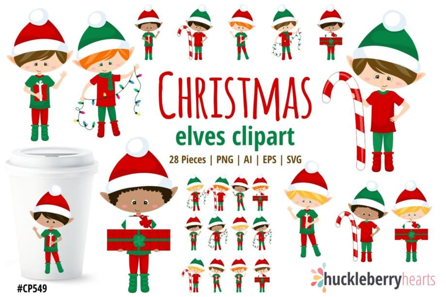 Christmas Elf Boys Clipart
