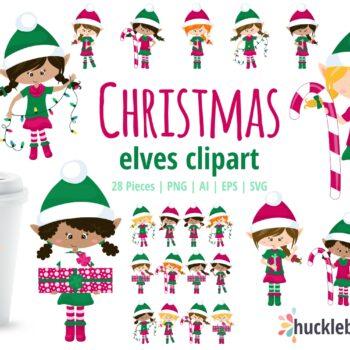 Christmas Elf Girls Clipart