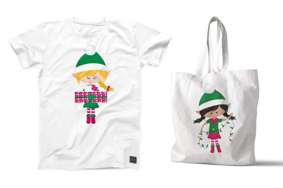 Christmas Elf Girls Clipart Sample 5