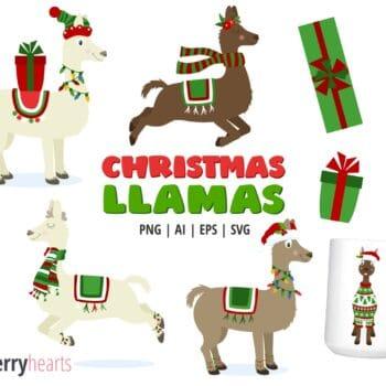 Christmas Llama Clipart