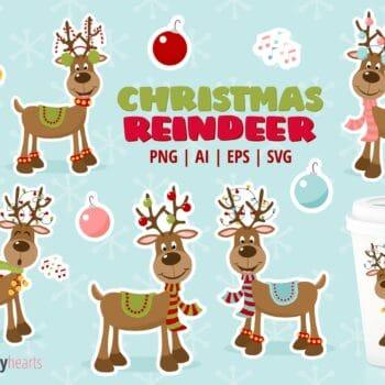 Assorted Whimsical Christmas Reindeer Clipart Set