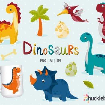 Dinosaur Themed Clipart Set