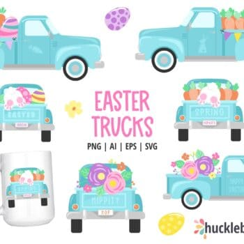 Assorted Easter Truck Cliparts