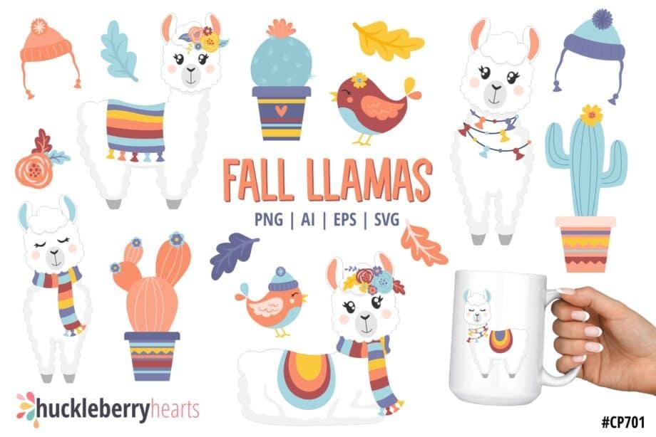 Assorted Set of Fall themed Llama Clipart