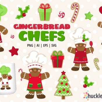 Assorted Gingerbread Chef Clipart Set