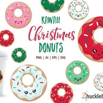 kawaii Christmas themed donut clipart