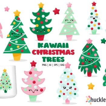 Assorted Kawaii Christmas Tree Clipart Set