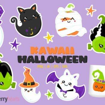Assorted Kawaii Halloween Themed Clipart Set