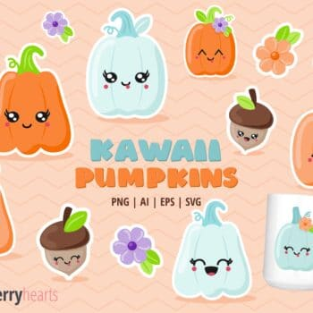 Assorted Kawaii Pumpkin and Acorn Cliparts