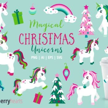 Magical Christmas Unicorn Clipart with Christmas Trees and Rainbows