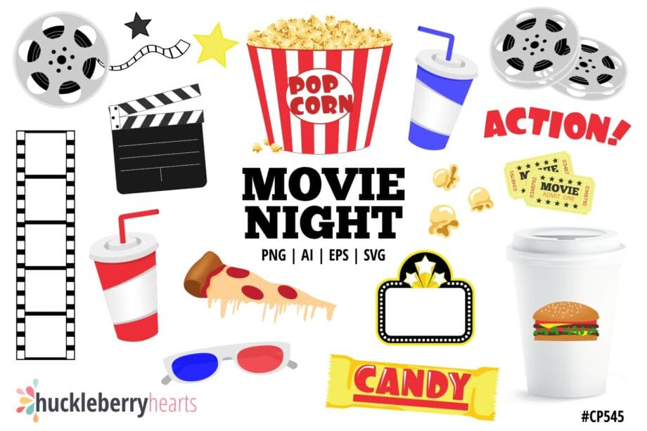 movie theater clipart set