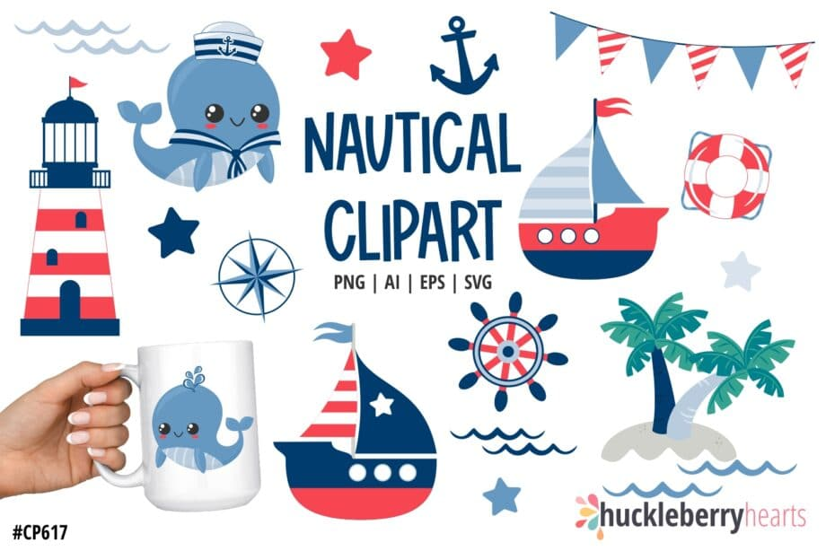 Assorted nautical themed clipart set