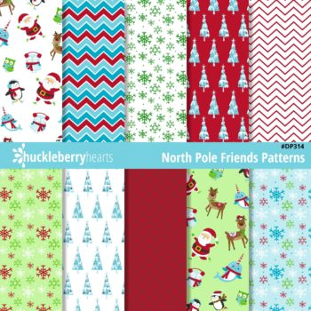 North Pole Christmas themed Digital Scrapbook Paper