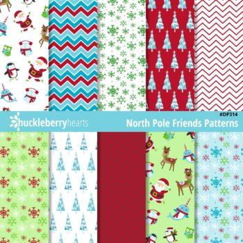 North Pole Christmas themed Digital Scrapbook Paper